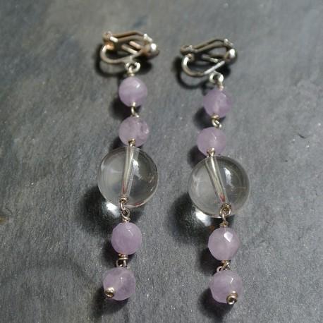 Boucles d'oreilles Cascade en améthystes claires et cristal de roche