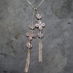 Collier écarpe noeud chinois en quartz rose
