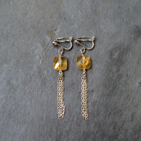 Boucles d'oreilles Pompon en citrine