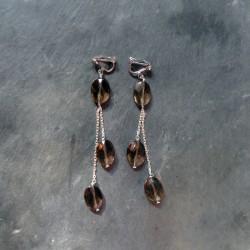 Boucles d'oreilles Saqqarah en quartz fumé