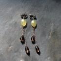 Boucles d'oreilles Saqqarah en serpentine et quartz fumés