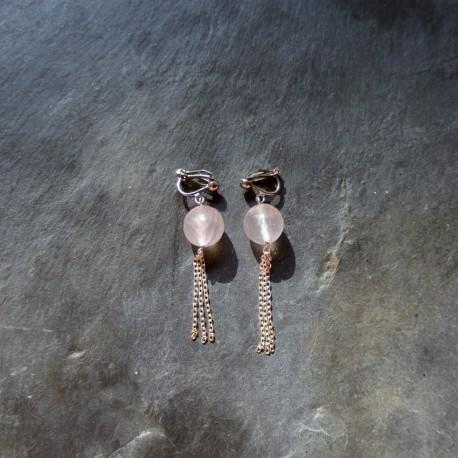 Boucles d'oreilles Pompon en quartz rose