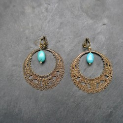 Boucles d'oreilles Créoles Indiennes en turquoise