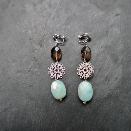 Boucles d'oreilles Rosace en quartz fumé et amazonite