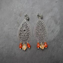 Boucles d'oreilles arabesques longues en citrines et cornalines