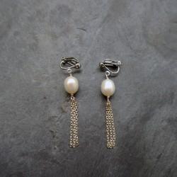 Boucles d'oreilles Pompon en perle d'eau douce rosée
