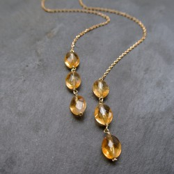 Collier charpe  citrines - chaîne plaquée or