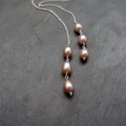 Collier écharpe 6 perles d'eau douce rosées