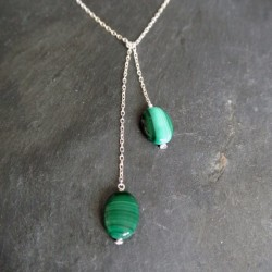 Collier écharpe en malachites