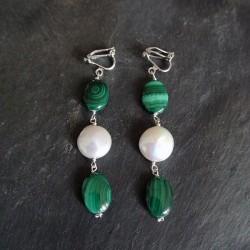 Boucles d'oreilles atoll en malachites et perles d'eau douce