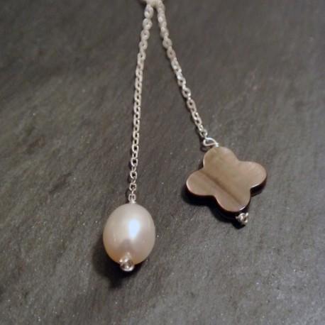 Collier écharpe nacre et perle d'eau douce