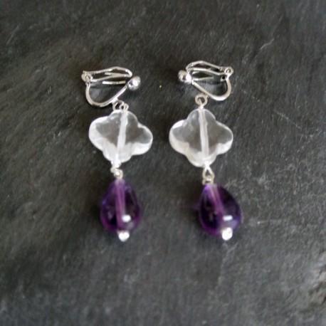 Boucles d'oreilles Pampilles en cristal de roche et améhtyste