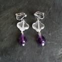 Boucles d'oreilles Pampilles en cristal de roche et améhtyste 38e