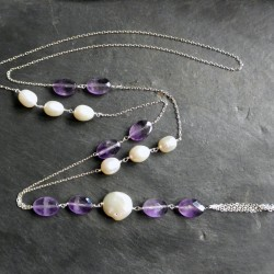 Sautoir SaoPaolo en améthyste et perles