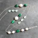 Sautoir Halong en malachites, calcédoines baignées et perles