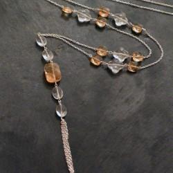 Sautoir Segeste en citrines et cristaux de roche