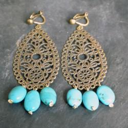 Boucles d'oreilles arabesques longues en turquoises
