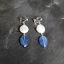 Boucles d'oreilles Pampilles en perle d'eau douce et cyanite
