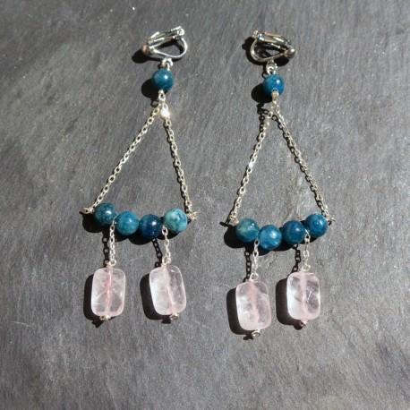 Boucles d'oreilles Bermudes à Pampilles en apatite et quartz rose