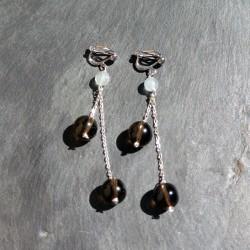 Boucles d'oreilles Saqqarah en aigue marine et quartz fumés