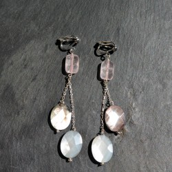 Boucles d'oreilles Saqqarah en quartz rose et nacres noires