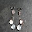 Boucles d'oreilles Saqqarah en quartz rose et nacres noires 38e