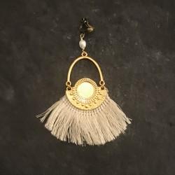 Boucles d'oreilles Azteques - doré blanc cassé 45e