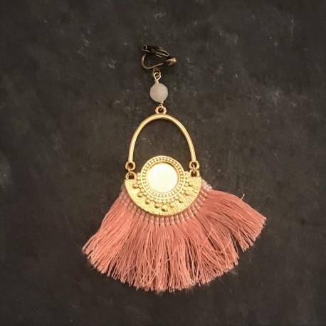 Boucles d'oreilles Azteques- rose - doré 45e
