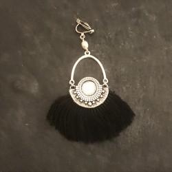 Boucles d'oreilles Azteques - noir et argenté - 45e