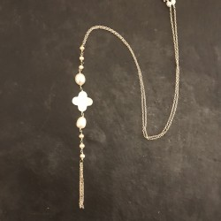 Sautoir argent Cravate perles 80e